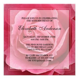 80 a fiesta de cumpleaños de la flor color de rosa anuncio