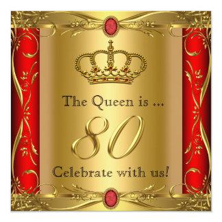 """80.a fiesta de cumpleaños de la reina o de rey invitación 5.25"""" x 5.25"""""""