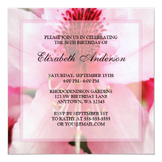 """80.a fiesta de cumpleaños de las flores rosadas invitación 5.25"""" x 5.25"""""""
