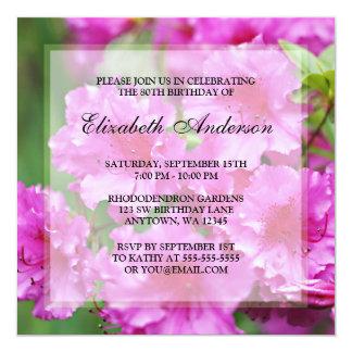 80.a fiesta de cumpleaños de las flores rosadas invitacion personal