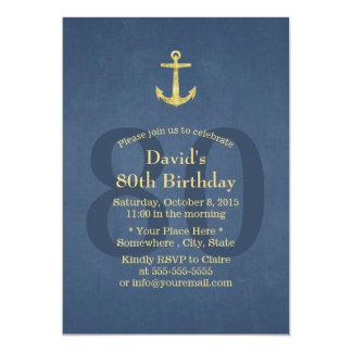 """80.a fiesta de cumpleaños de los azules marinos invitación 5"""" x 7"""""""