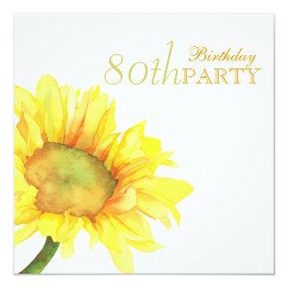 """80.a fiesta de cumpleaños de los girasoles de oro invitación 5.25"""" x 5.25"""""""