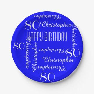 80.a fiesta de cumpleaños del azul real que repite plato de papel de 7 pulgadas