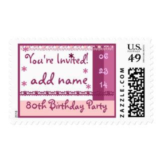 80.a fiesta de cumpleaños del nombre de encargo en sellos