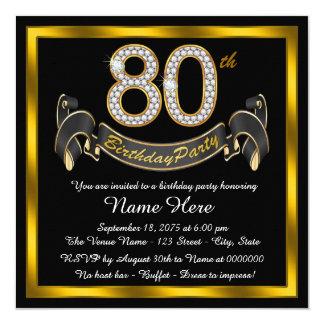 """80.a fiesta de cumpleaños del oro elegante invitación 5.25"""" x 5.25"""""""