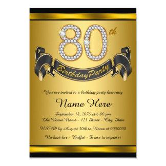 """80.a fiesta de cumpleaños del oro elegante invitación 5"""" x 7"""""""