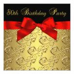 80.a fiesta del cumpleaños del oro del negro de la invitacion personalizada