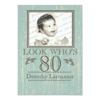 80.a foto envejecida del cumpleaños de madera invitación 12,7 x 17,8 cm