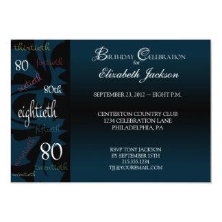 80.a invitación de la fiesta de cumpleaños del invitación 12,7 x 17,8 cm