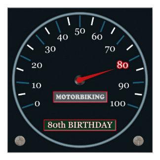 80 a invitación del cumpleaños de Motorbiking