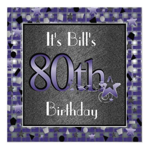 80.a invitación feliz de la fiesta de cumpleaños p