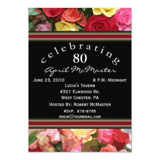 80.a invitación floral de la fiesta de cumpleaños