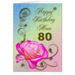 80.a tarjeta de cumpleaños color de rosa elegante