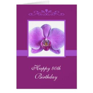 80 a tarjeta de cumpleaños de la orquídea