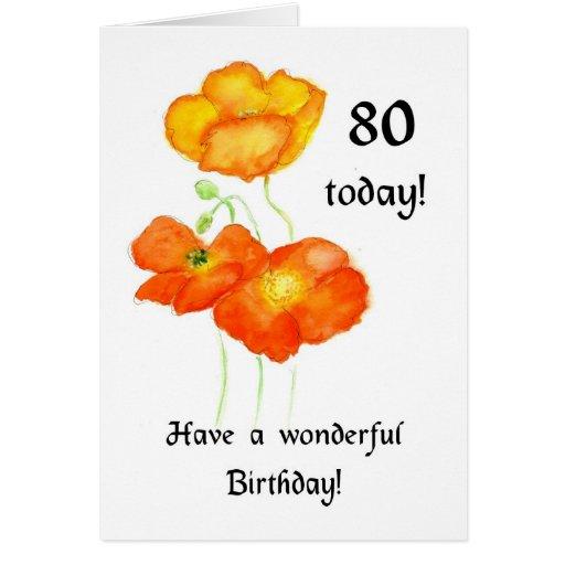 80.a tarjeta de cumpleaños de las amapolas islande