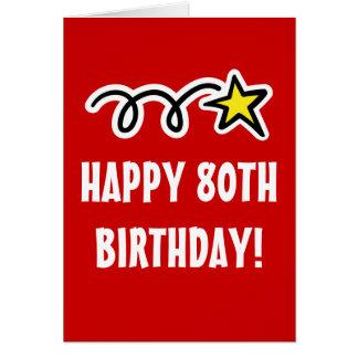 80 a tarjeta de cumpleaños feliz para los hombres