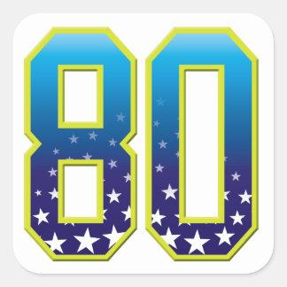 80 Age Star Square Sticker