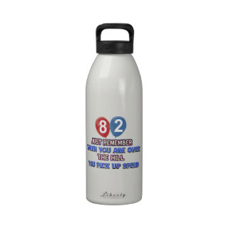 80 and over the hill birthday designs reusable water bottles
