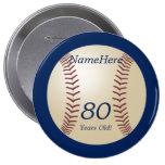 80 años, béisbol en el Pin azul del botón