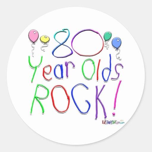 ¡80 años de la roca! pegatina redonda