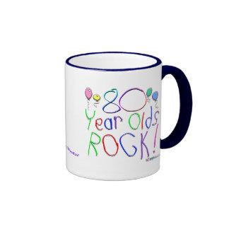 ¡80 años de la roca! taza