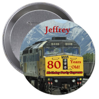 80 años, Pin del botón del cumpleaños del tren de