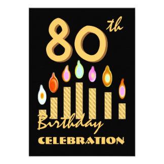 80 as - 89 as velas del oro de la invitación de la