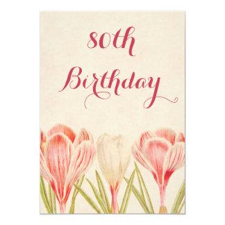 80.as azafranes de la primavera del cumpleaños de invitación 12,7 x 17,8 cm