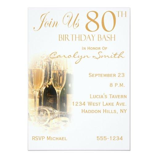 80.as invitaciones de la fiesta de cumpleaños de invitación 12,7 x 17,8 cm