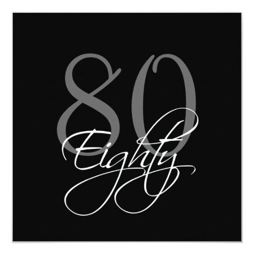 """80.as invitaciones del cumpleaños del gris negro invitación 5.25"""" x 5.25"""""""