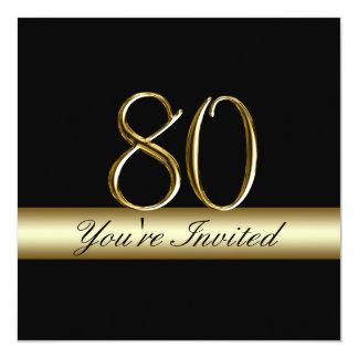 """80.as invitaciones del cumpleaños del metal de la invitación 5.25"""" x 5.25"""""""