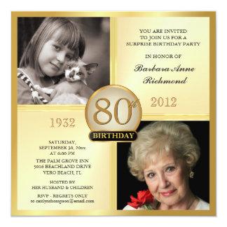 80.as invitaciones del cumpleaños del oro entonces invitación 13,3 cm x 13,3cm