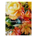 80 Beautiful Years!-Birthday/Yellow Rose Bouquet Personalized Invite