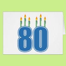 80 Birthday Candles (Blue / Green) Card