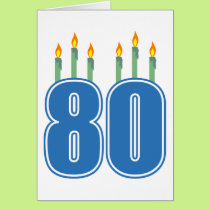 80 Birthday Candles (Blue / Green) Card