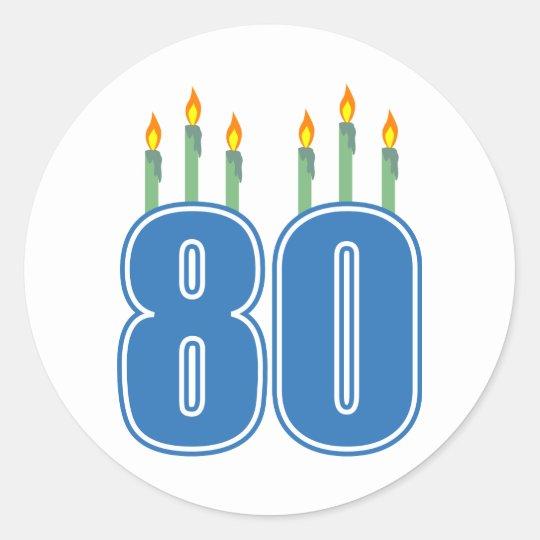 80 Birthday Candles (Blue / Green) Classic Round Sticker
