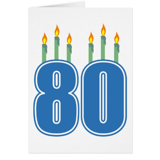 80 Birthday Candles (Blue / Green) Greeting Cards