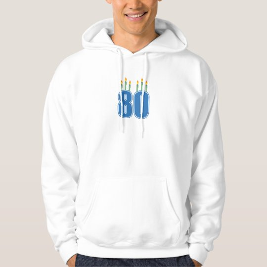 80 Birthday Candles (Blue / Green) Hoodie