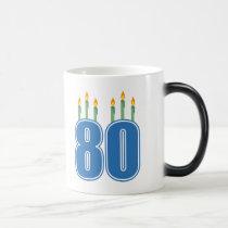 80 Birthday Candles (Blue / Green) Magic Mug