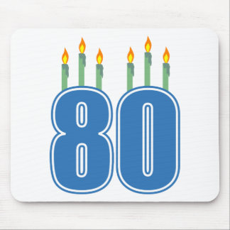 80 Birthday Candles (Blue / Green) Mouse Pad