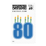 80 Birthday Candles (Blue / Green) Postage Stamps