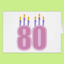 80 Birthday Candles (Pink / Purple) Card