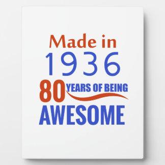 80 birthday design plaque