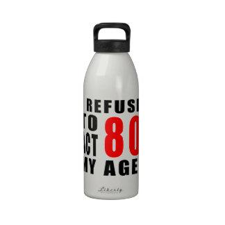 80 birthday design reusable water bottle