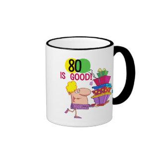 80 es buenos camisetas y regalos del cumpleaños taza de dos colores