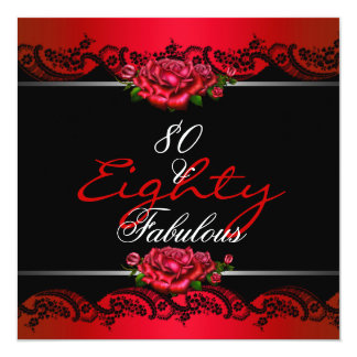 "80 & Fabulous 80th Birthday Party Red Roses 5.25"" Square Invitation Card"