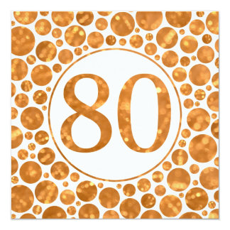 """80 In Gold - 80th Birthday Party Invitation 5.25"""" Square Invitation Card"""