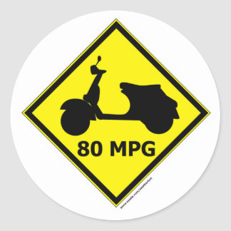 80 mpg Scooter Style Classic Round Sticker
