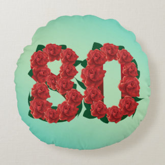 80 number birthday anniversary 80th red rose text round pillow
