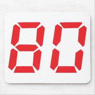 80 número digital del despertador de ochenta rojos alfombrillas de raton